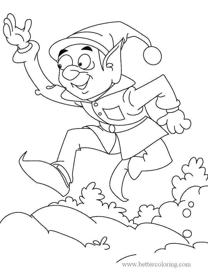 Free Jumping Elf from Elf On The Shelf Coloring Pages printable