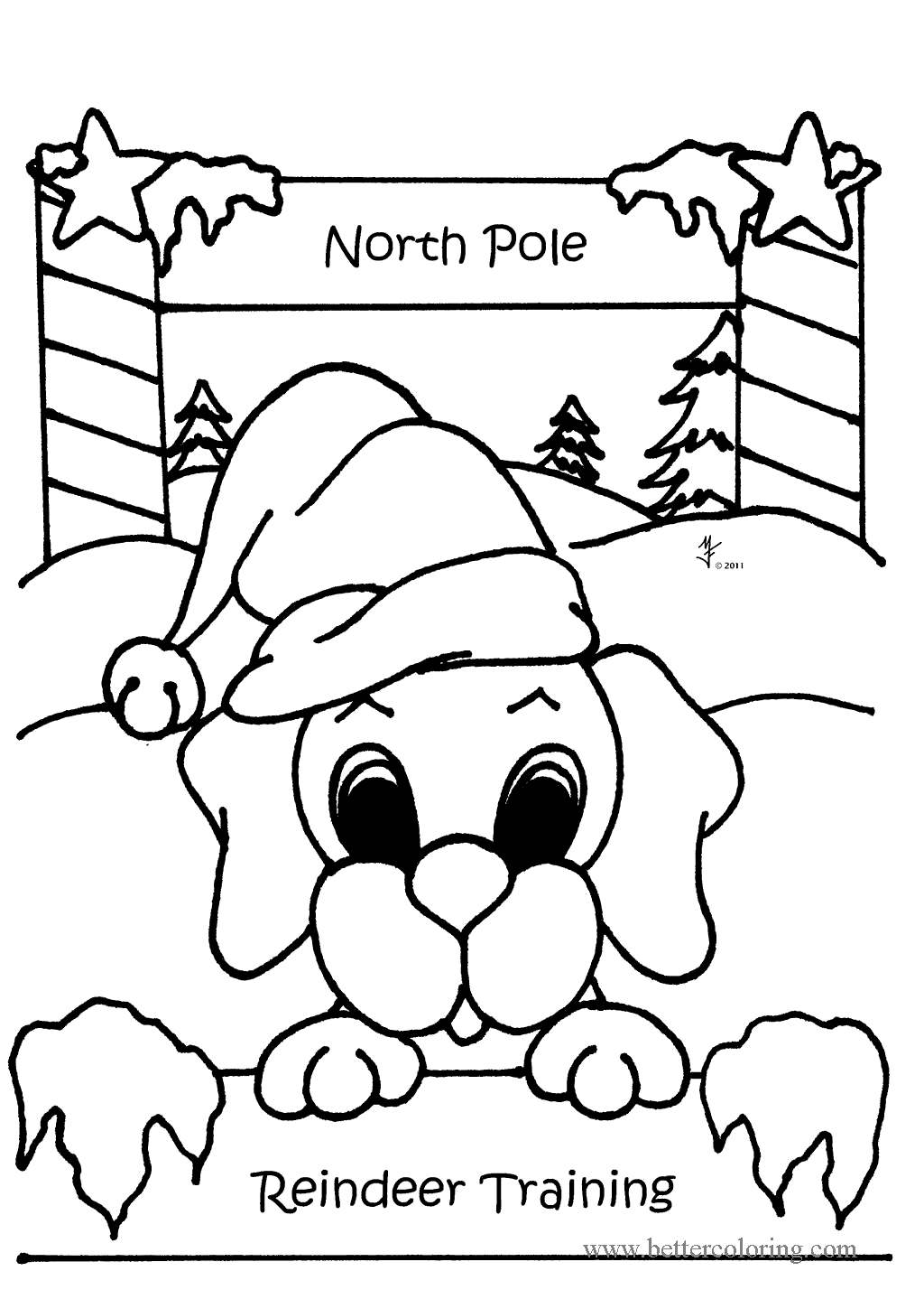 North Pole Christmas Dog Coloring Pages - Free Printable ...