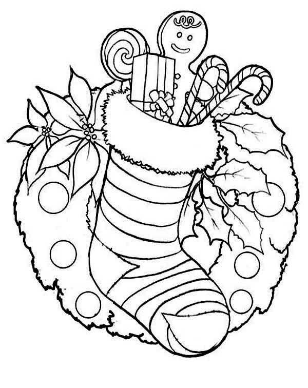 Free Ornaments and Stocking Coloring Pages printable