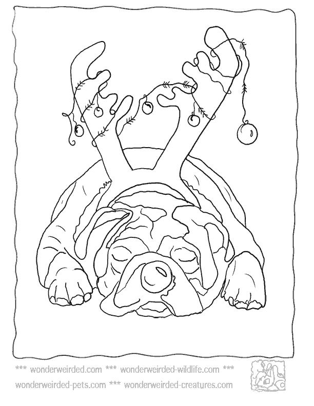 Free Reindeer Christmas Dog Coloring Pages printable