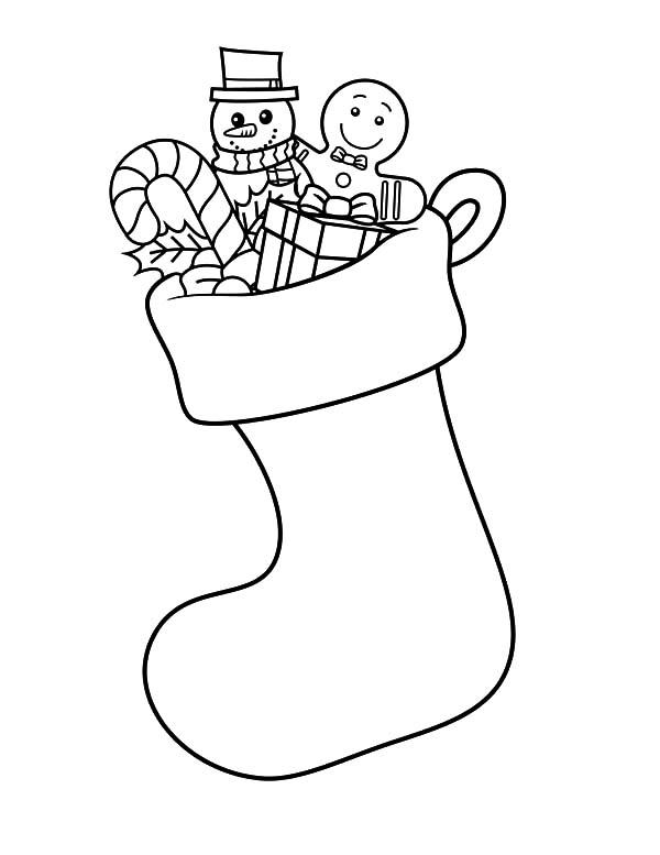Free Snowman in Stocking Coloring Pages printable