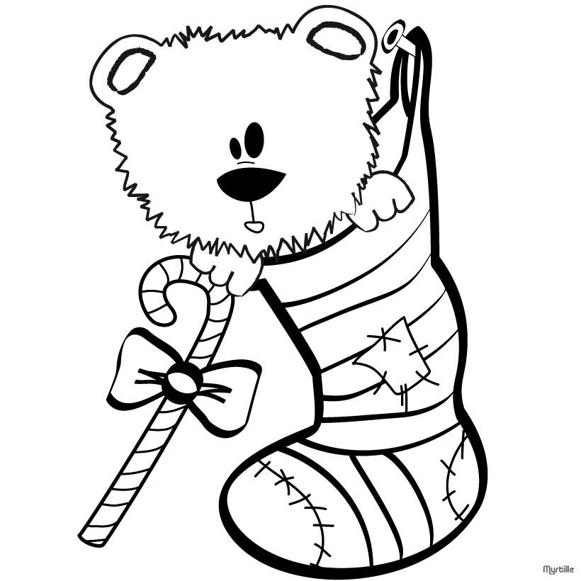 Free Stocking and Bear Coloring Pages printable