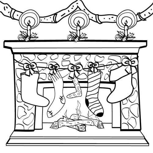 Free Stocking on Fireplace Coloring Pages printable
