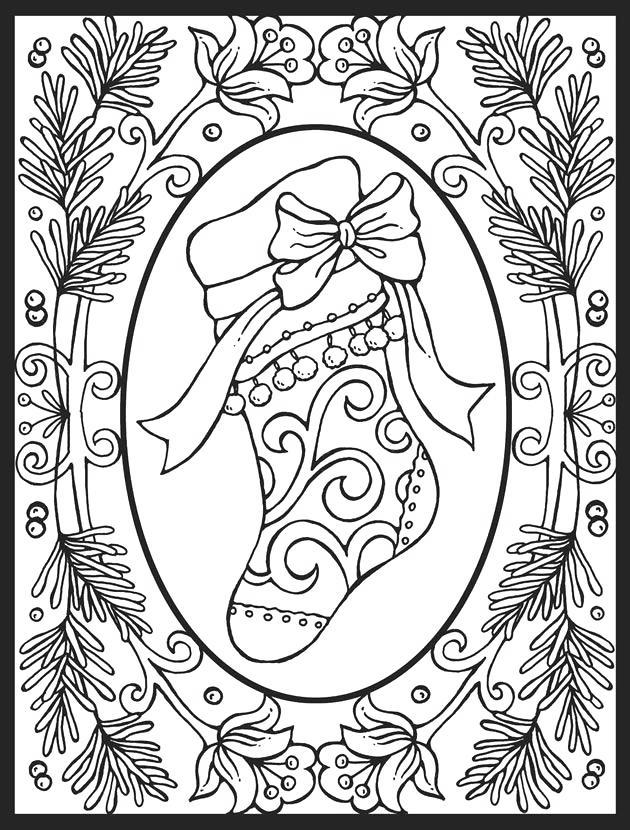 Free Stocking with Frame Coloring Pages printable