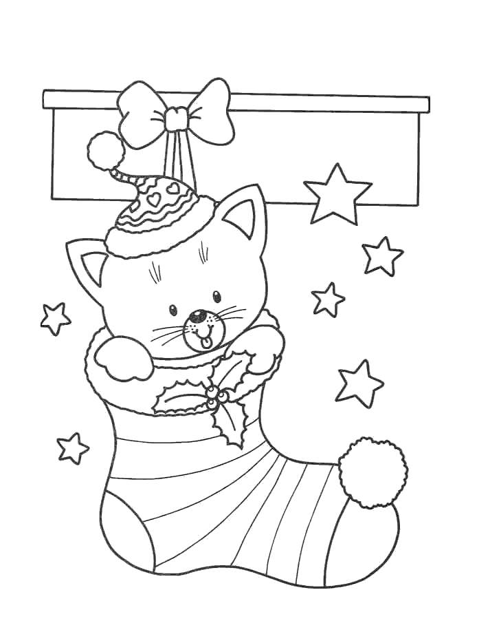 Free Stocking with Kitty Coloring Pages printable