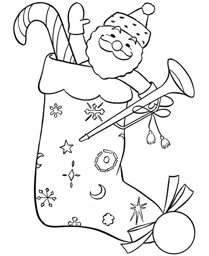 Free Stocking with Santa Coloring Pages printable