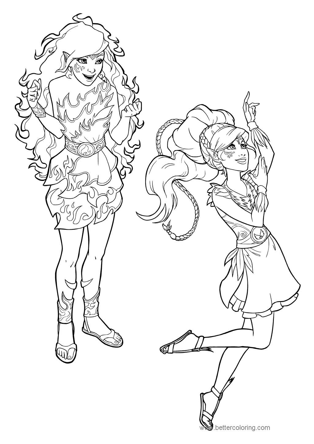 Free Two Girl Elves Coloring Pages printable