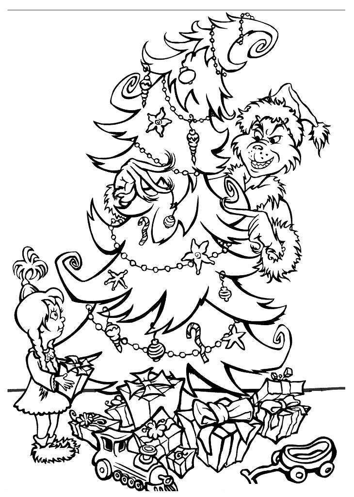 Free Whoville Coloring Pages Grinch and Christmas Tree printable