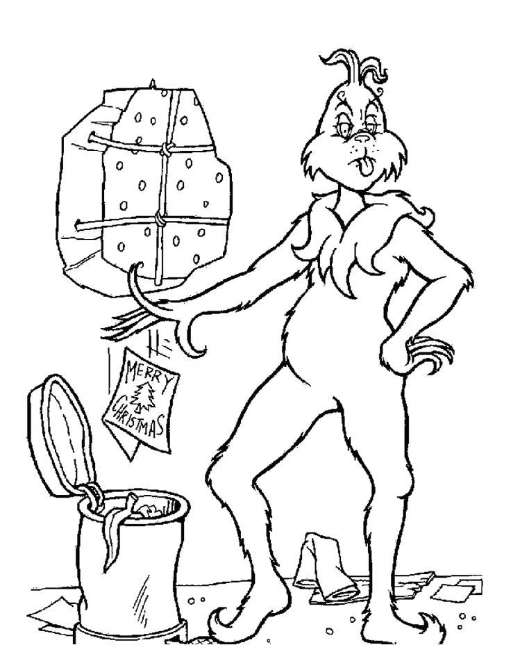 Free Whoville Coloring Pages Grinch and Trash Can printable