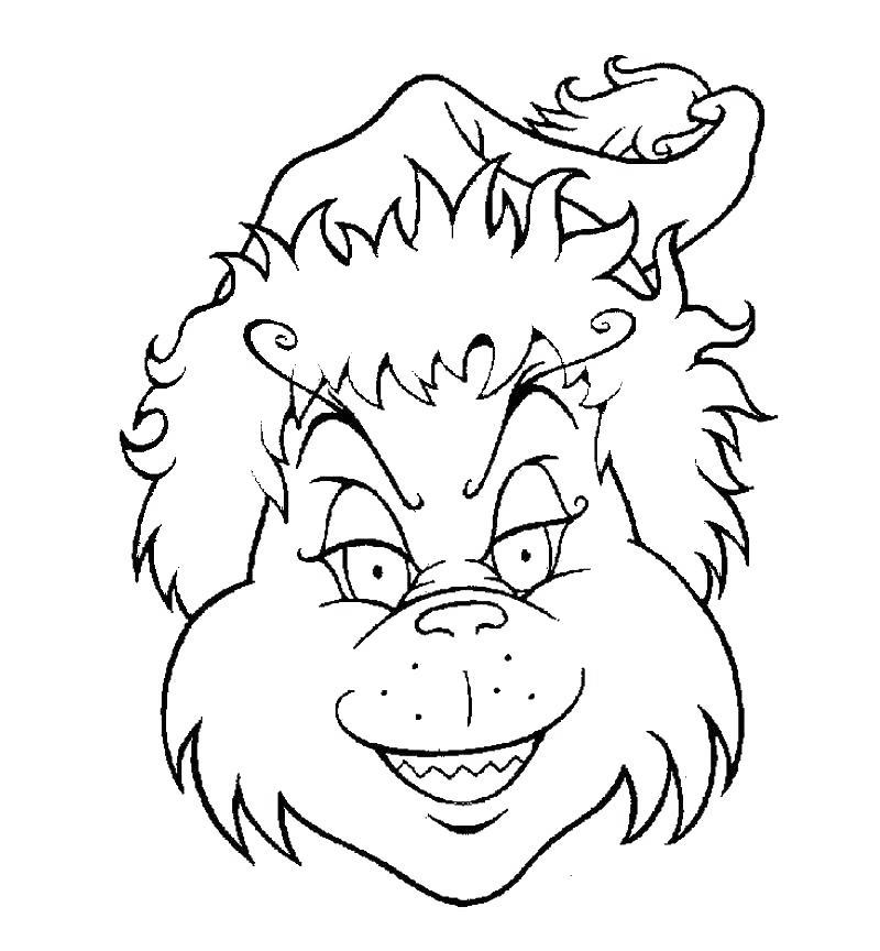 Free Whoville Grinch Face Coloring Pages printable