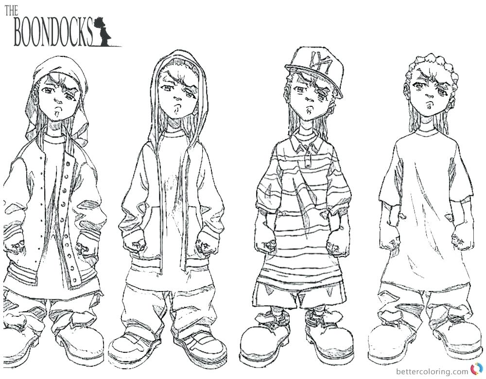 Free Boondocks Rapper Coloring Pages printable