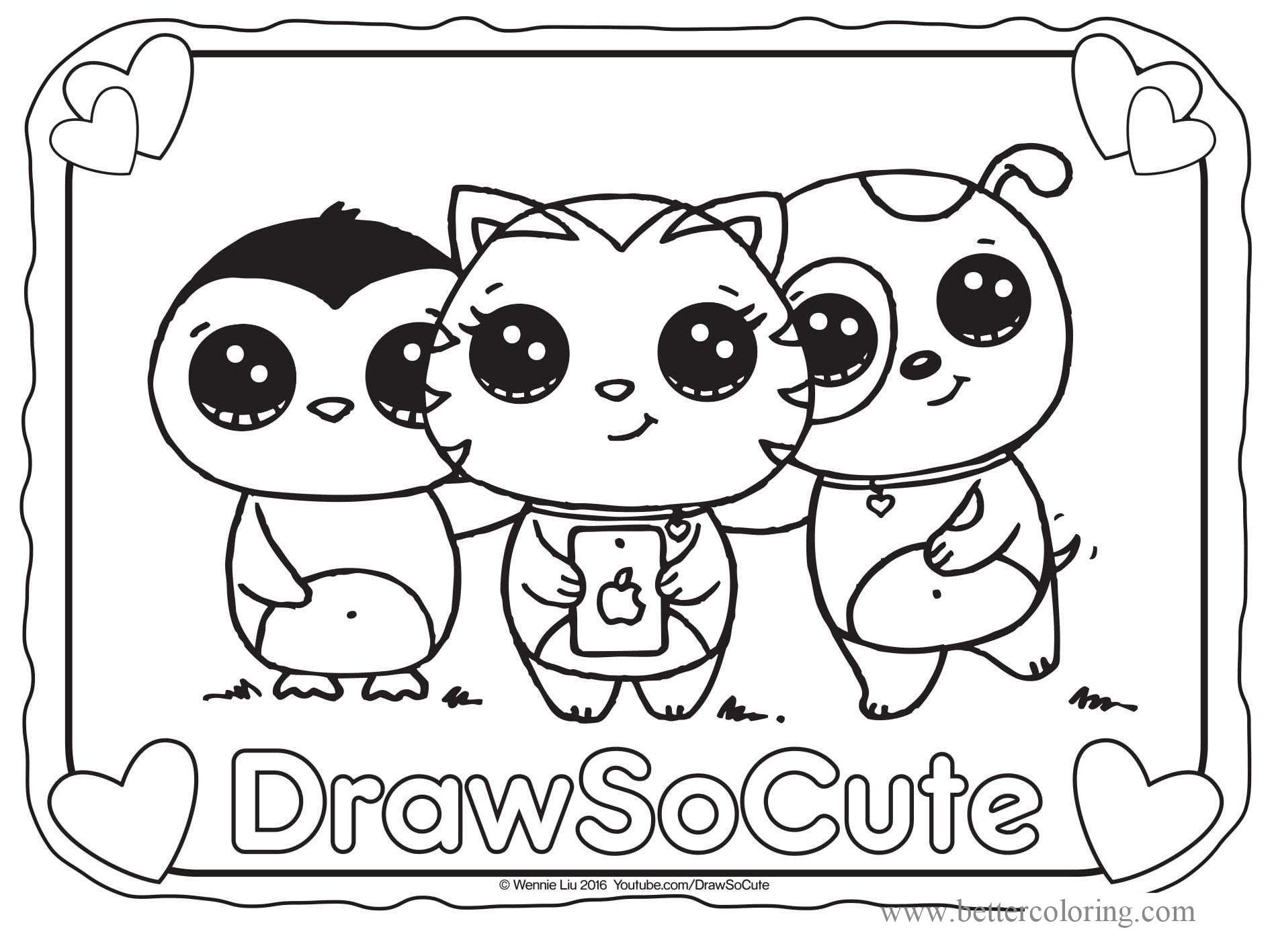 Free Draw So Cute Animals Coloring Pages printable