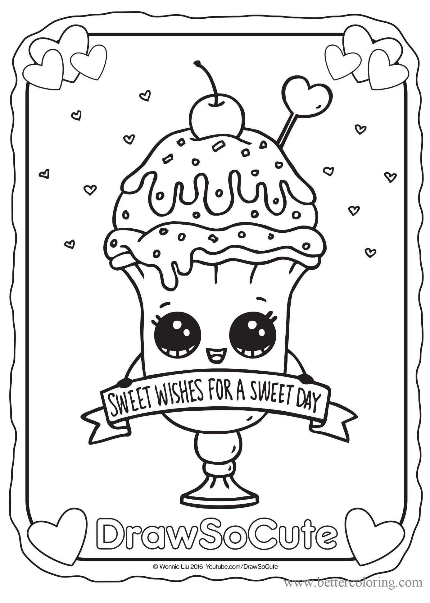 Free Draw So Cute Coloring Pages Valentine Ice Cream Sundae printable