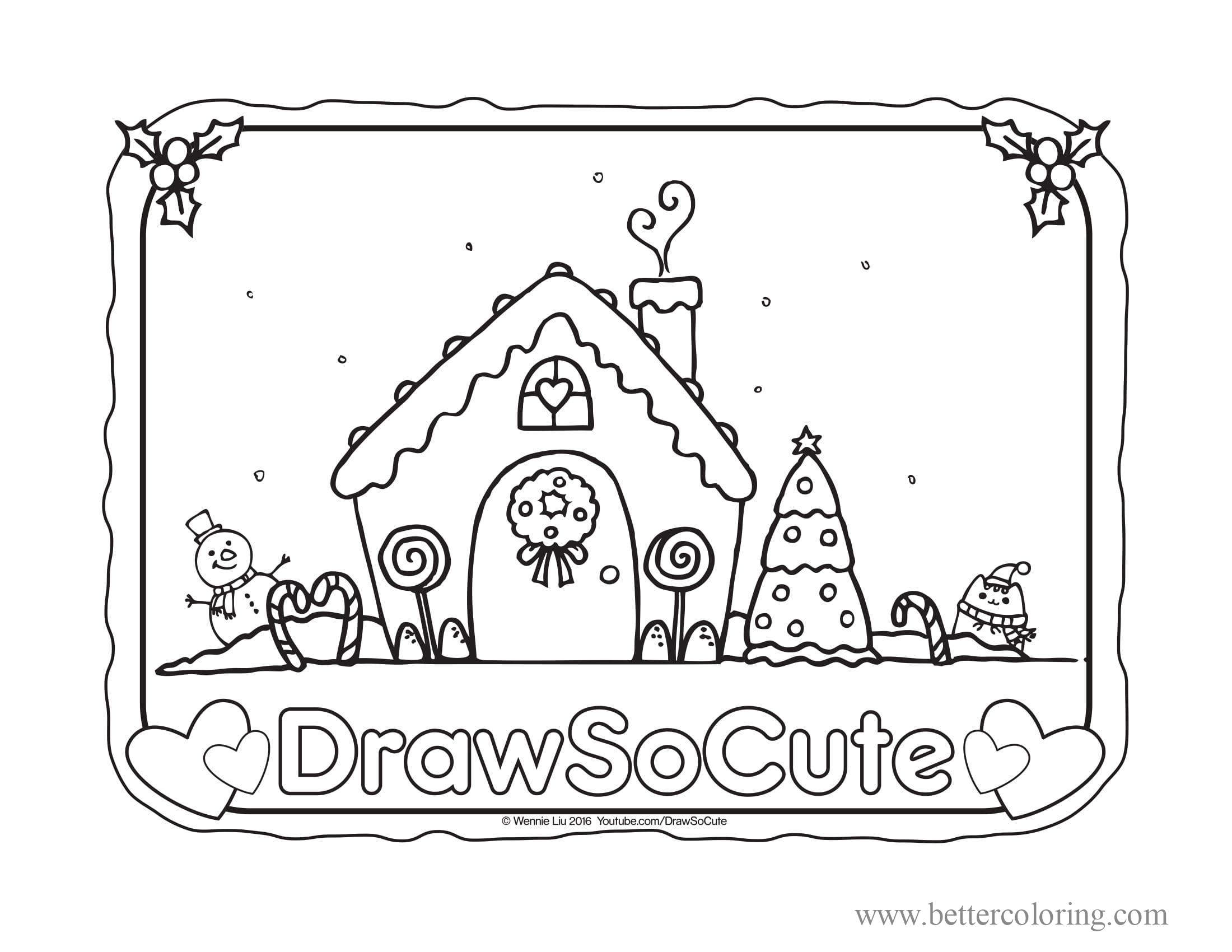 Free Draw So Cute Gingerbread House Coloring Pages printable