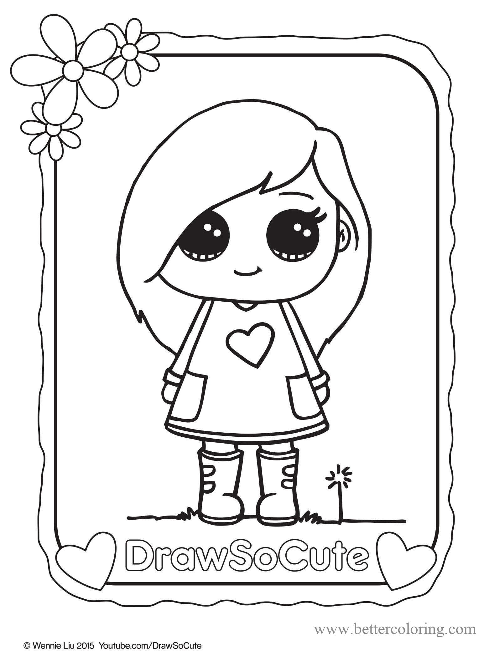 Free Draw So Cute Girl Coloring Pages printable