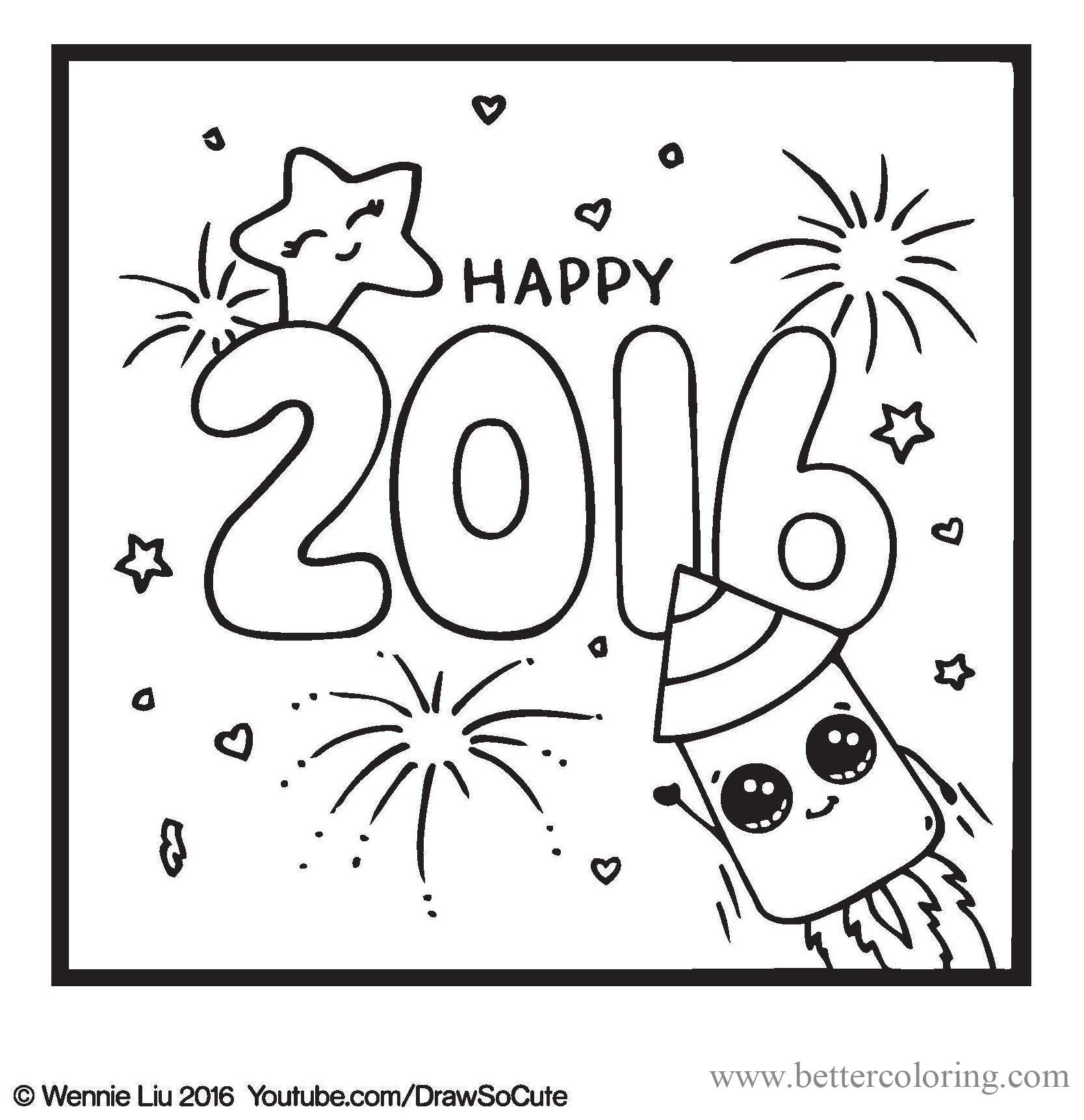 Free Draw So Cute Happy new year Coloring Pages printable
