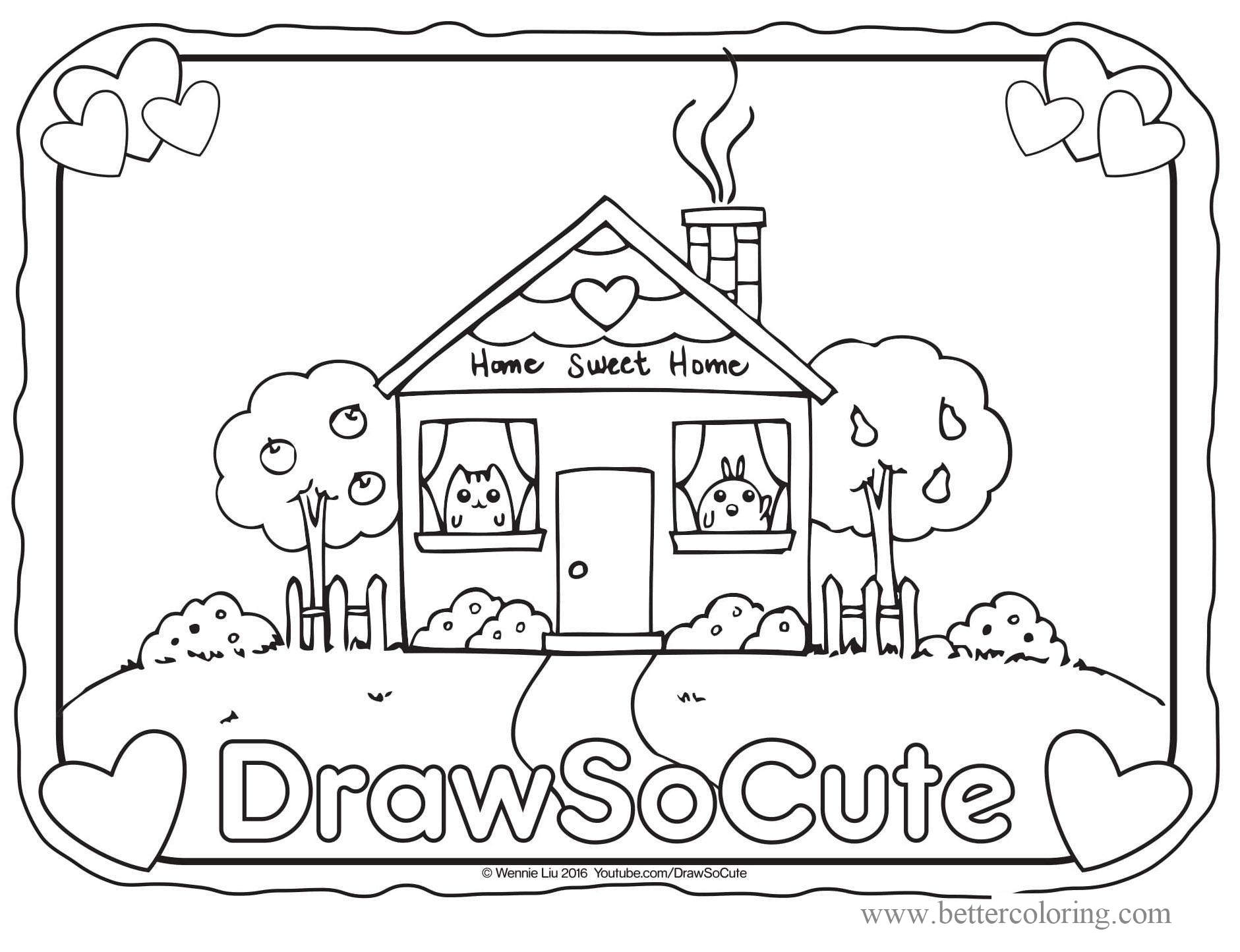 Free Draw So Cute House Coloring Pages printable