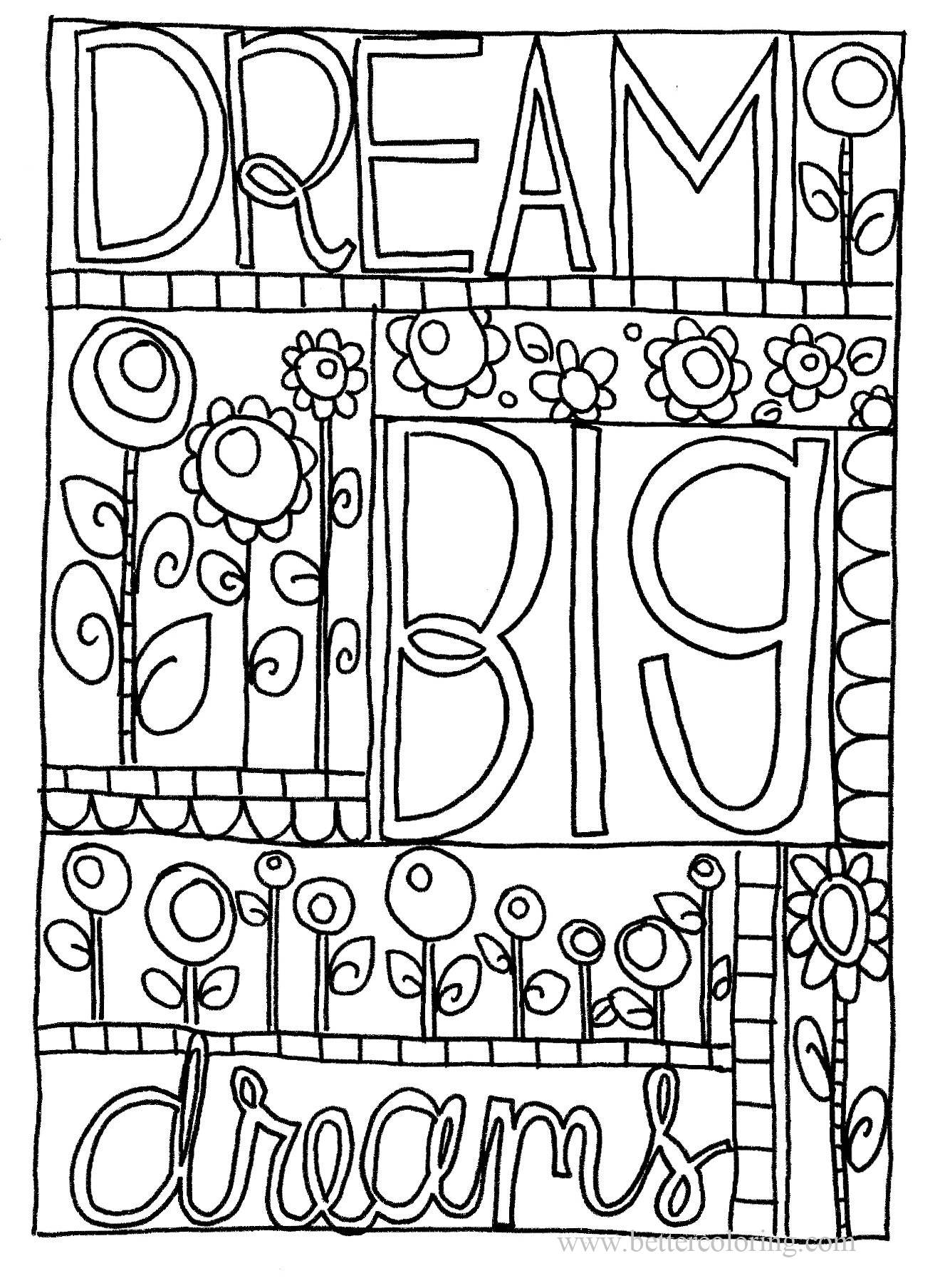 Free Dream Big for Sharpie Coloring Pages printable