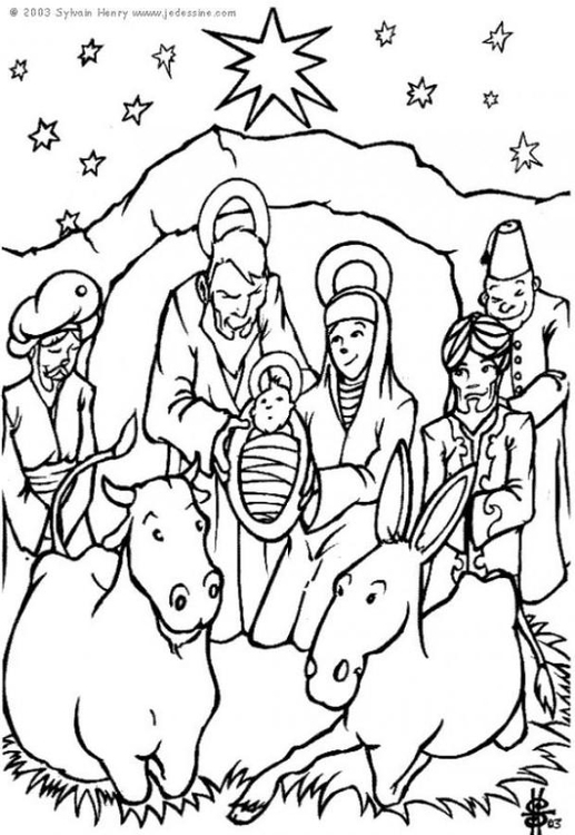 Free Epiphany Nativity Scene Coloring Pages printable