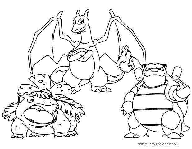 Free Mega Pokemon Charizard and Friends Coloring Pages printable