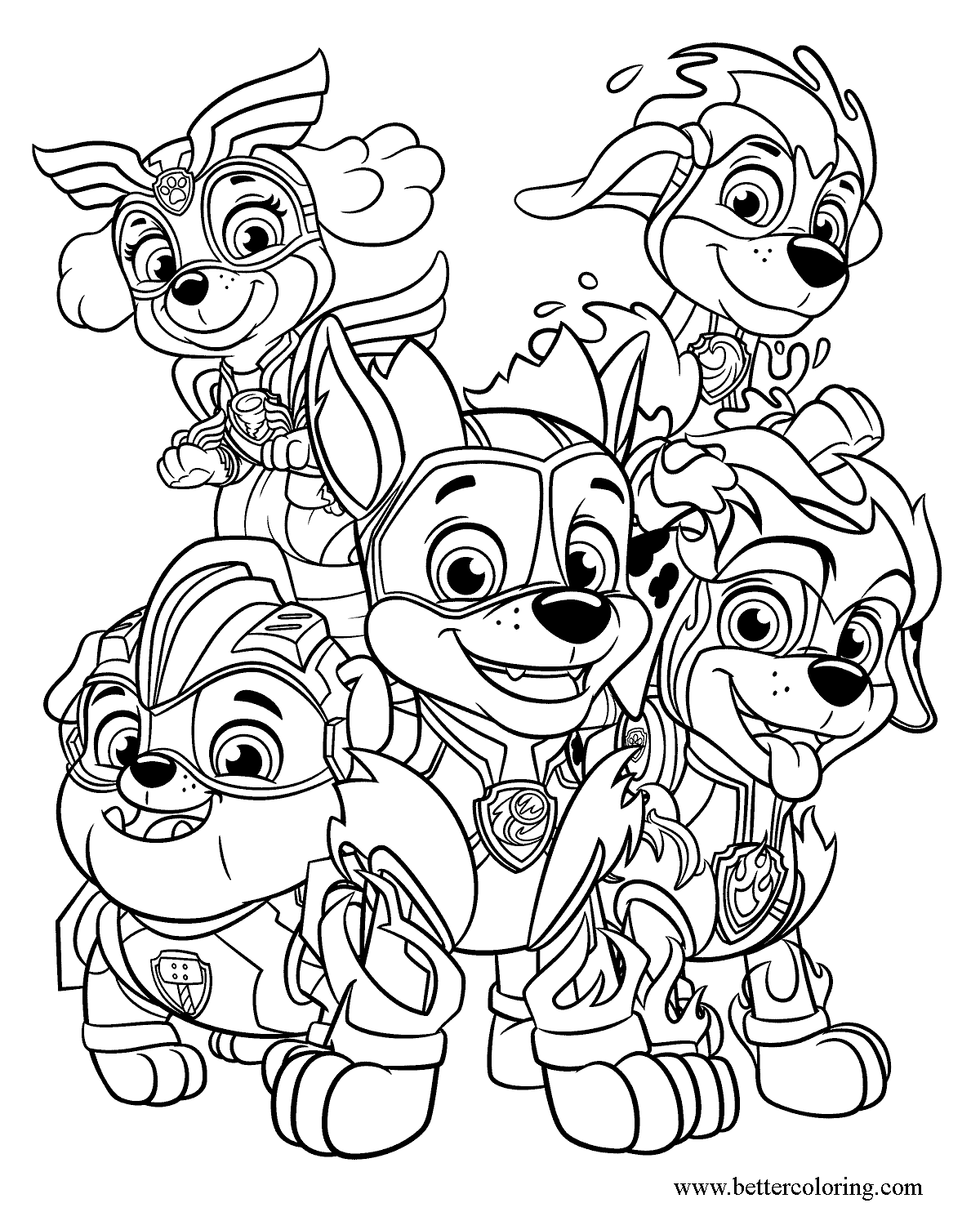 Free Mighty Pups Coloring Pages printable