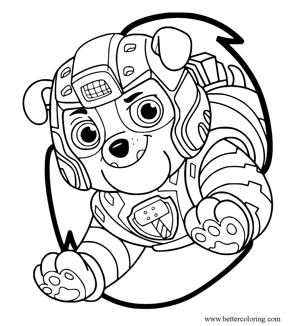 Free Mighty Pups Rubble Coloring Pages printable