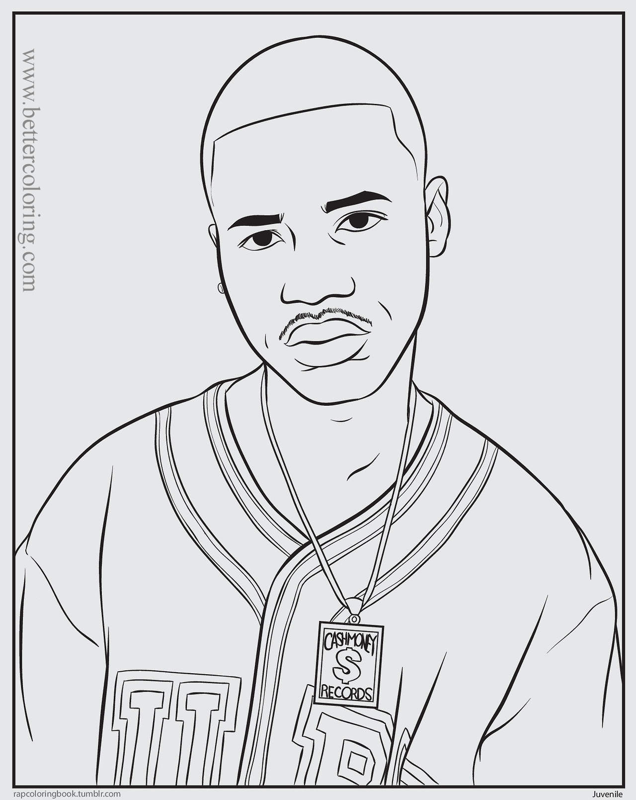 Free Rapper Coloring Pages Black and White printable