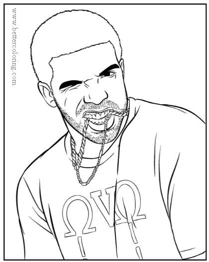 Free Rapper Drake with Chains Coloring Pages printable