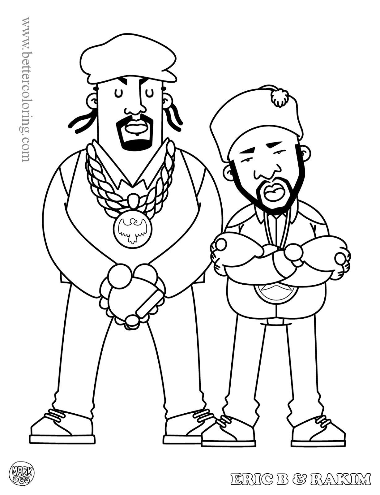 Free Rapper Eric B and Rakim Coloring Pages printable