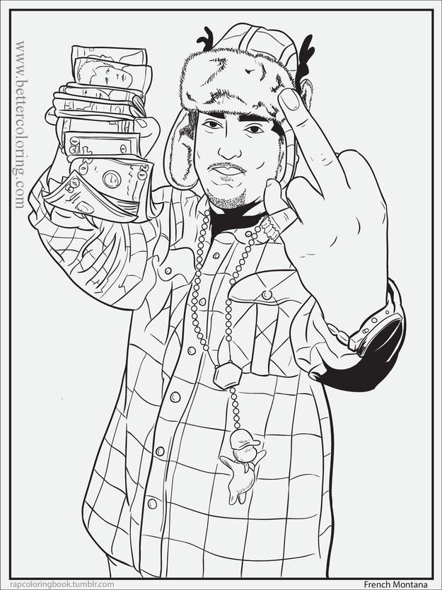 Free Rapper with Money Coloring Pages printable