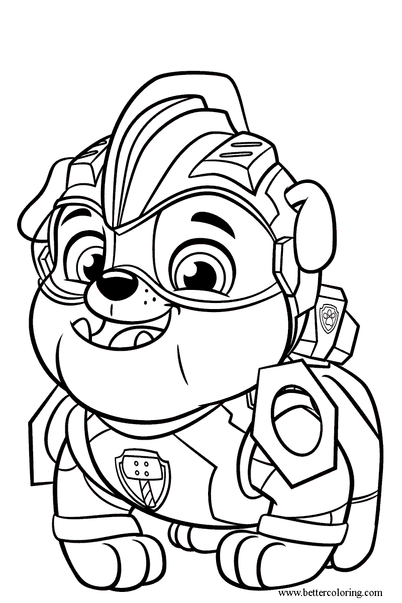 Rubble from Mighty Pups Coloring Pages - Free Printable ...