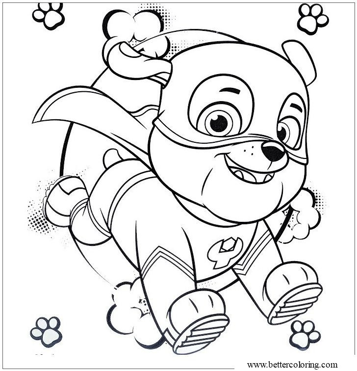 Free Rubble from Super Pups Coloring Pages printable
