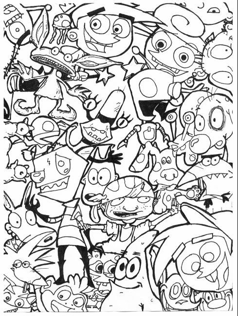 Free Sharpie Cartoon Characters Coloring Pages printable