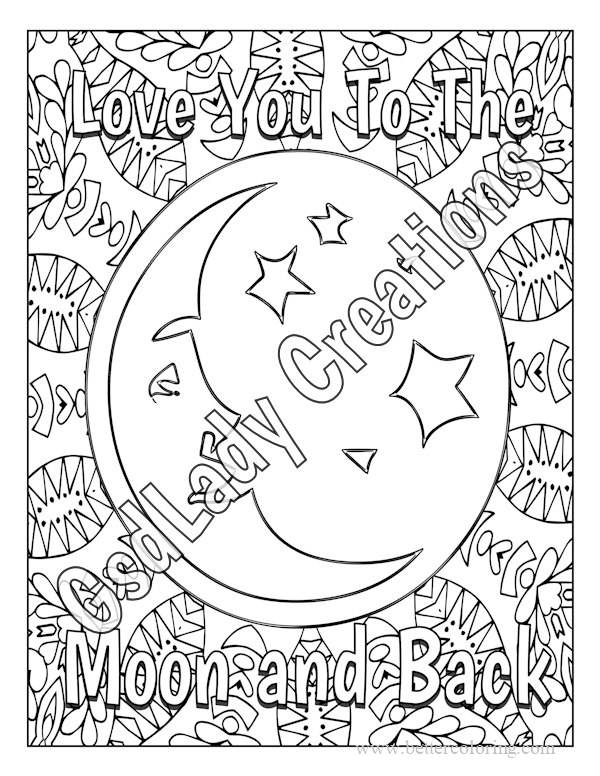 Free Sharpie Coloring Pages Love You To The Moon and Back printable