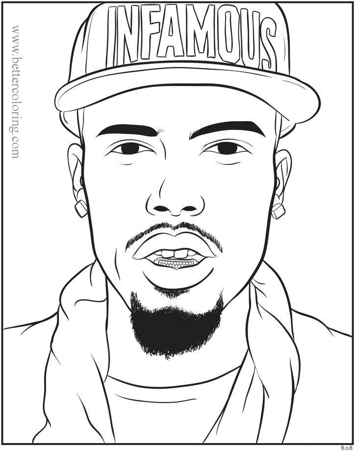Free Tupac Rapper Coloring Pages printable