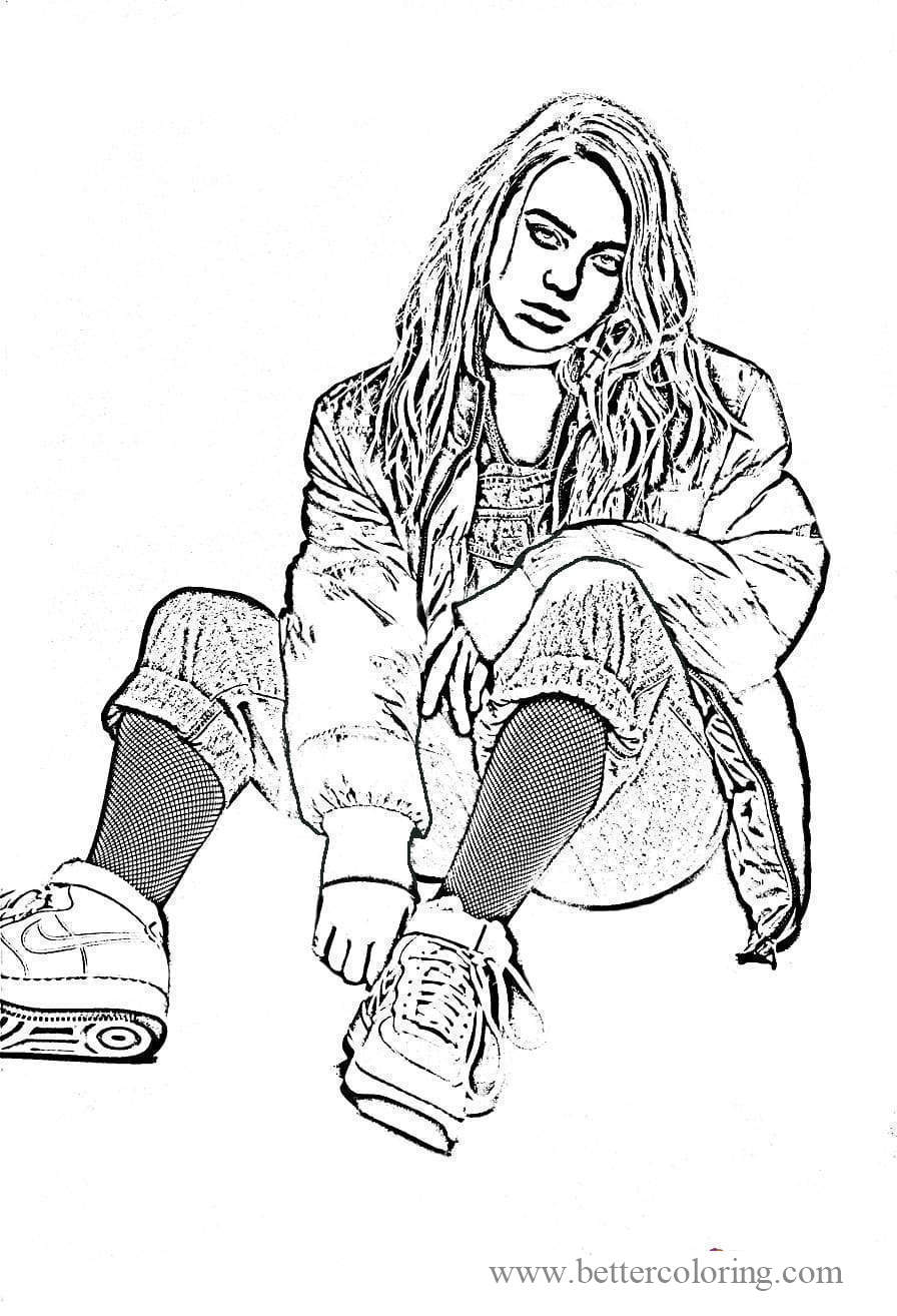Free Billie Eilish Coloring Pages Black and White printable