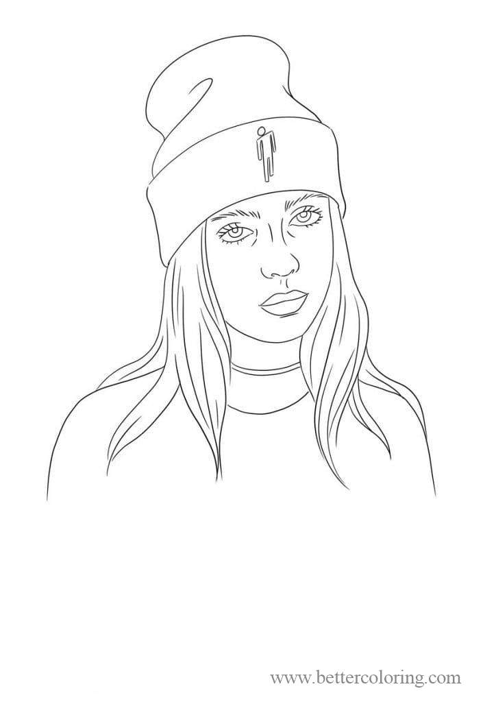 Free Billie Eilish In Hat Coloring Pages printable