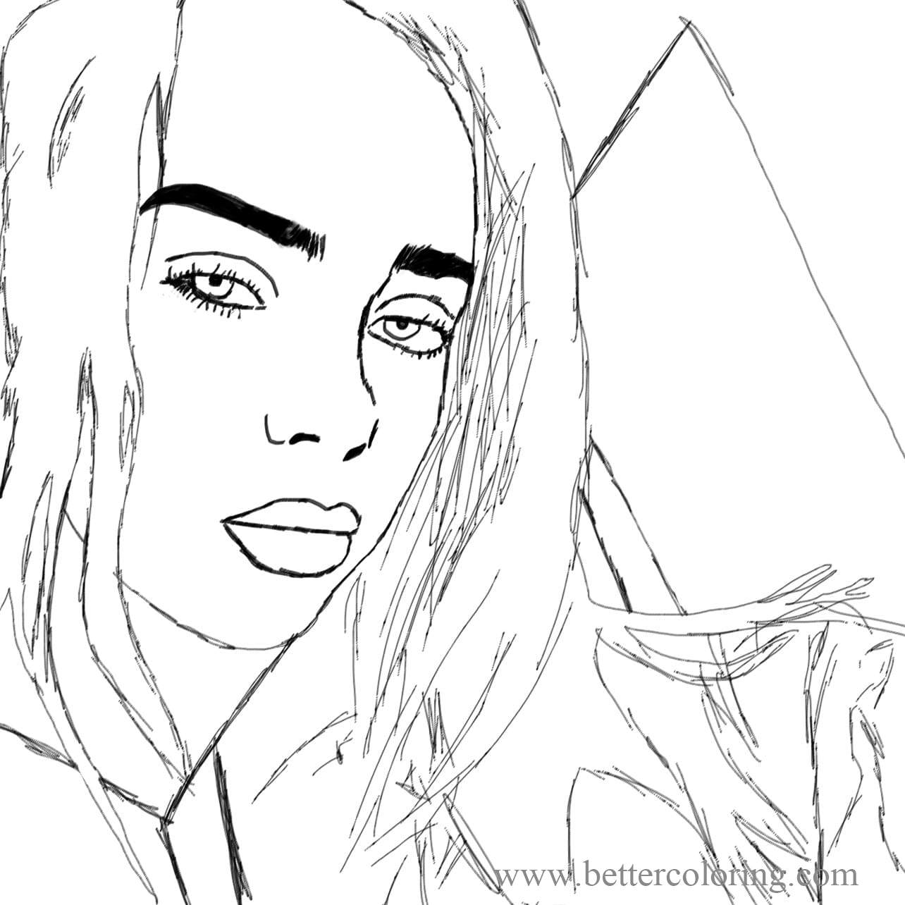Free Billie Eilish Sketch Coloring Pages printable
