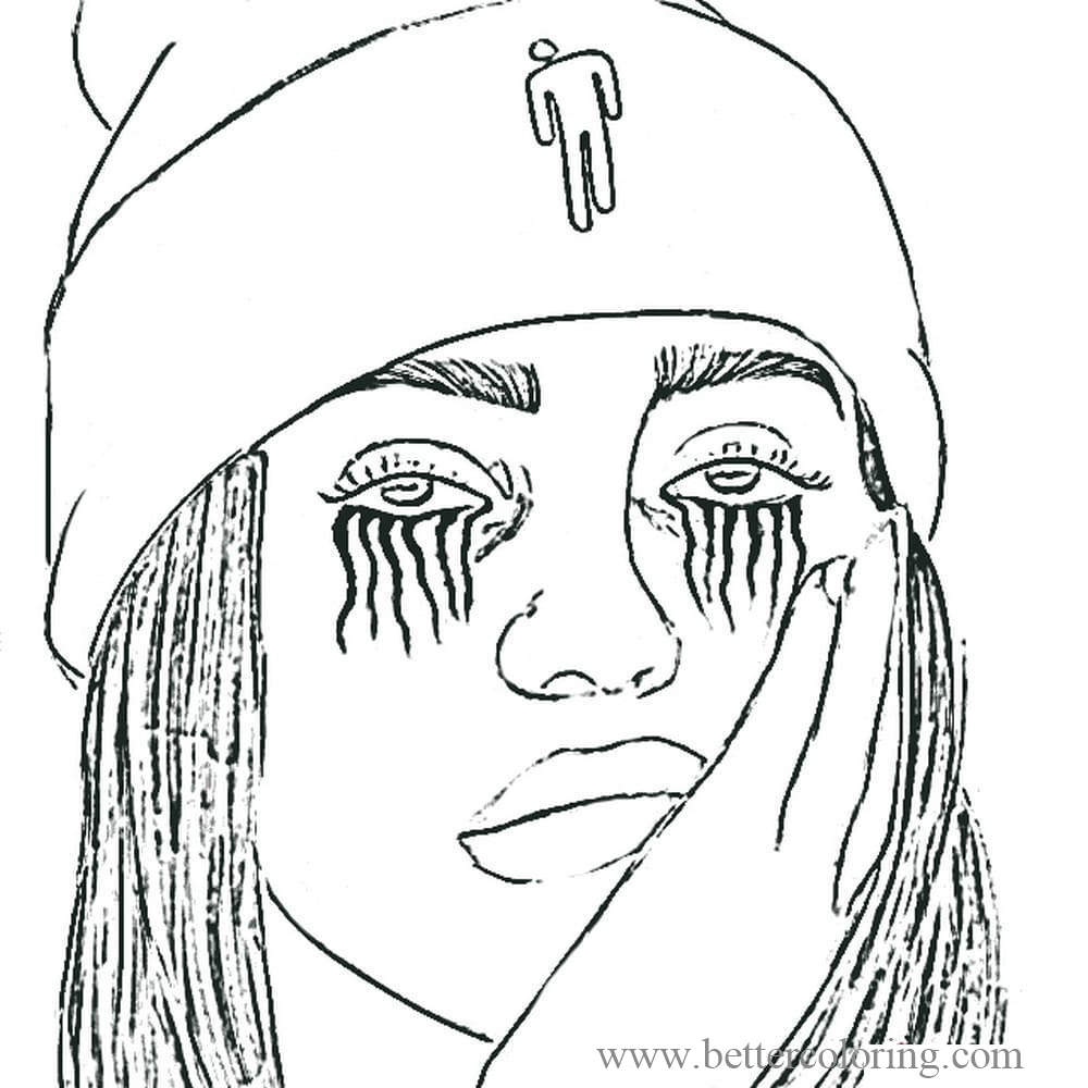 Free Billie Eilish Tearing Coloring Pages printable