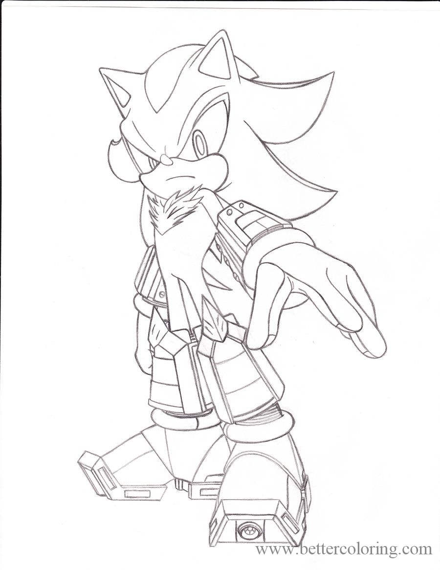 Free Shadow The Hedgehog Hand Drawing Coloring Pages printable