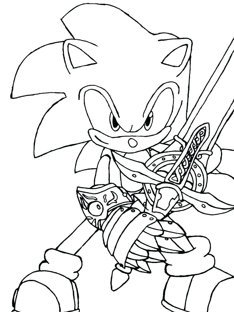 Free Shadow The Hedgehog with Sword Coloring Pages printable