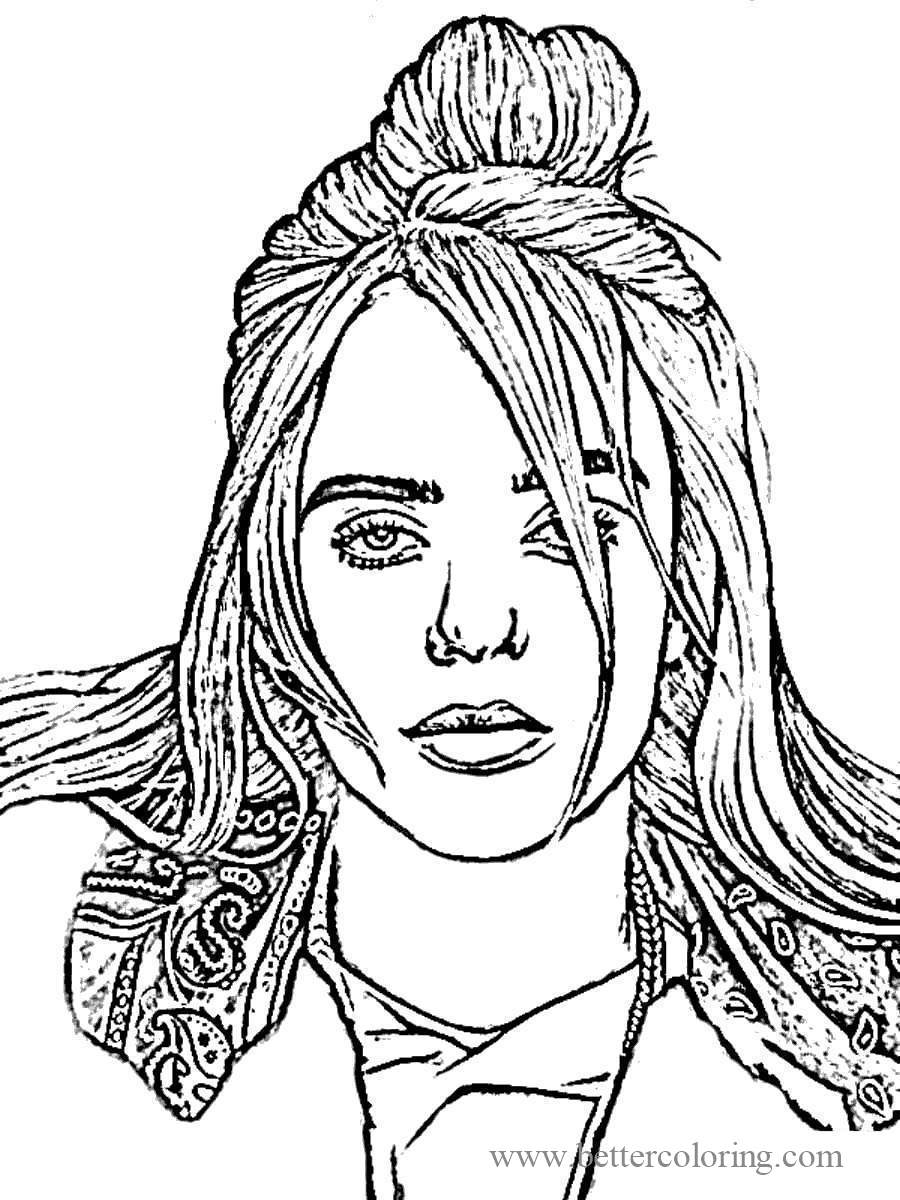 Free Sketch Drawing of Billie Eilish Coloring Pages printable