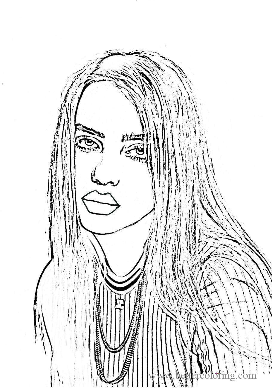 Free Star Billie Eilish Coloring Pages printable