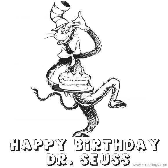 Free Happy Birthday Dr Seuss Coloring Pages Cat In The Hat Brings the Cake printable