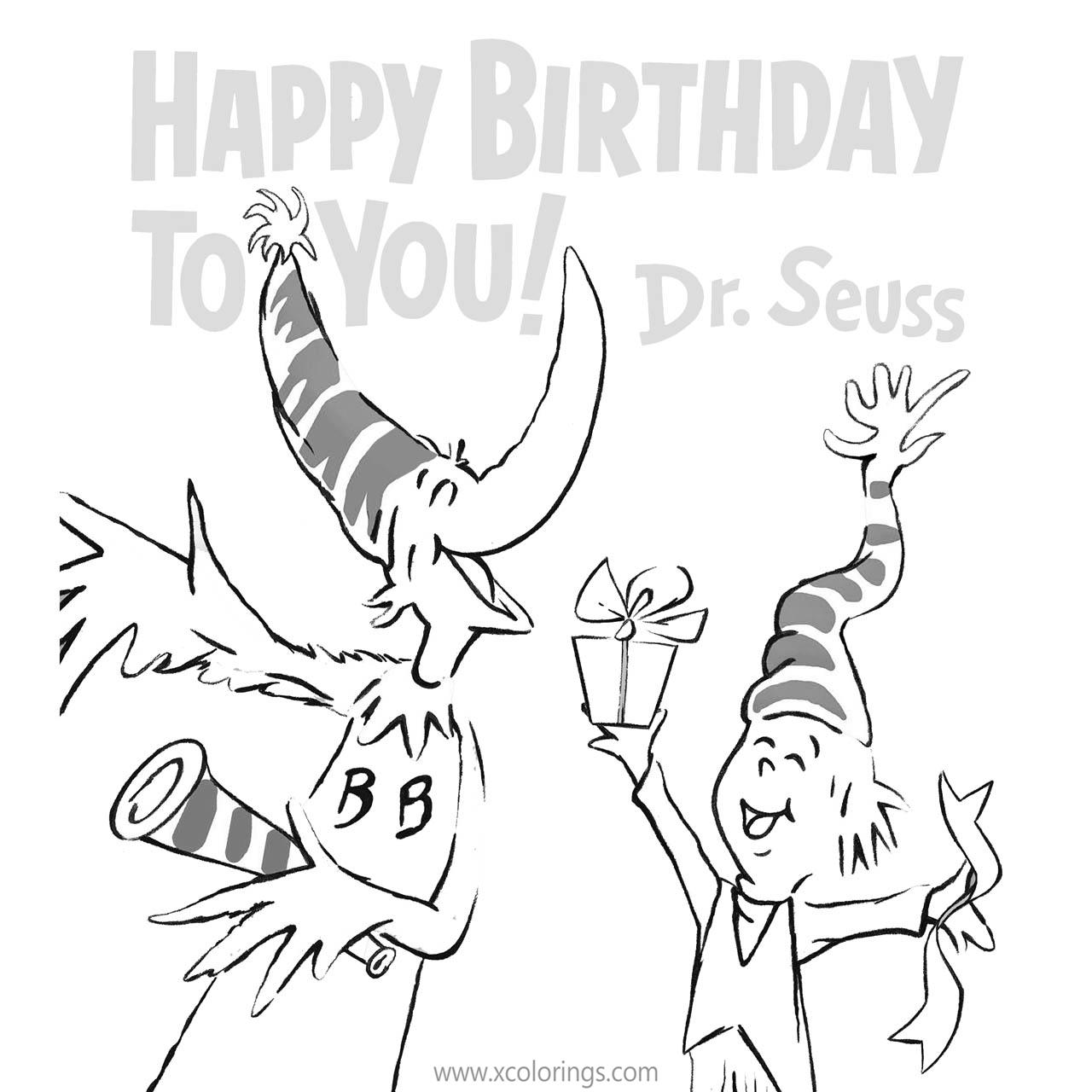 Free Happy Birthday To You Dr Seuss Coloring Pages printable